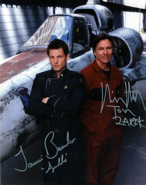 The new and the old Apollo buddy shot, signed by Jamie Bamber and Richard Hatch.  Never liked the old show, too campy - but I can't pass up a good buddy shot. ;)