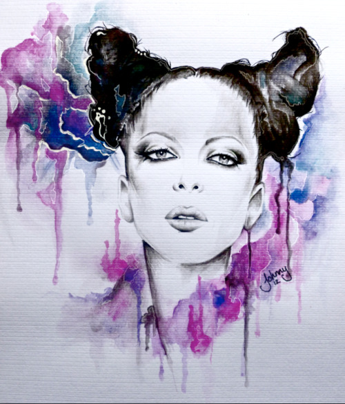 garbageofficial:  garbagegallery:  shirley watercolour painting by johnny 2012  Are you following our new fan art blog?  Such an amazing work of art.