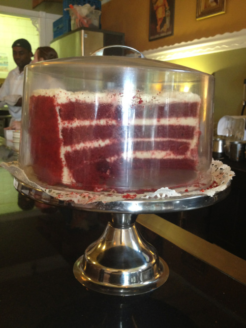 How could I possibly resist ordering a slice of this red velvet cake?