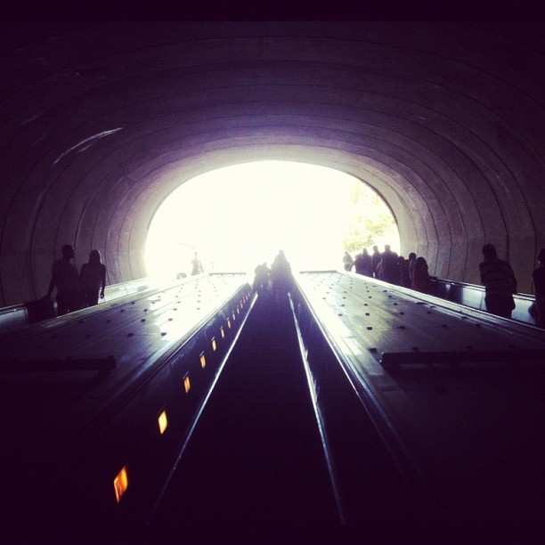 The light at the end of the tunnel. (Taken with Instagram at Dupont Circle Metro Station)