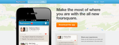 Foursquare - The map in the landing page is the map of your actual position /via bluboy