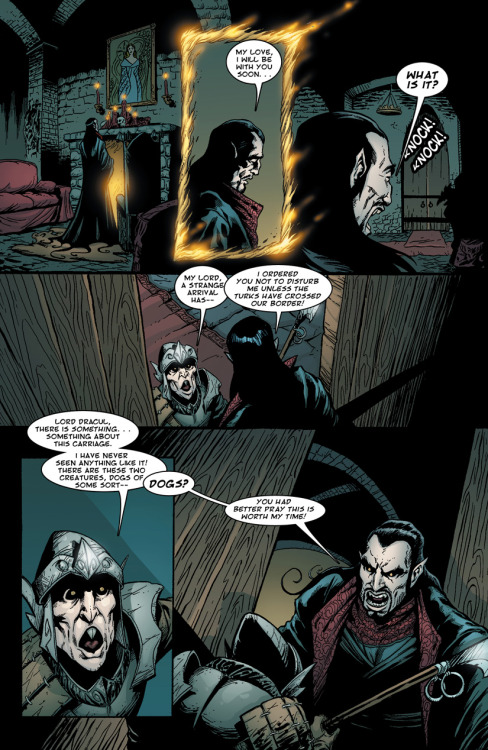 Preview: Page Eight of Dracula vs King Arthur. Dracula laments the loss of his wife while awaiting his own impending doom. Click through the image to find out more on Kickstarter.