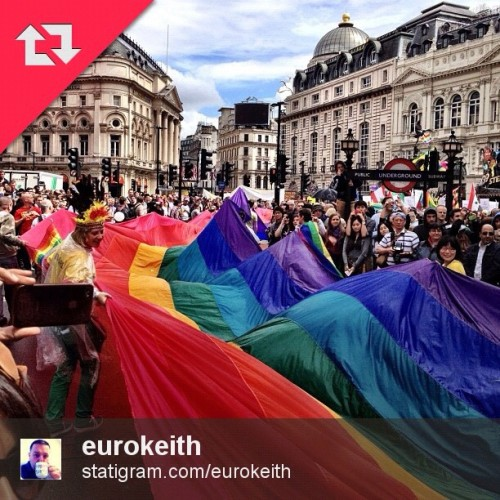 Great pic by @eurokeith showing the biggest rainbow flag making its way through Piccadilly Circus at Pride yesterday.  (Taken with Instagram)