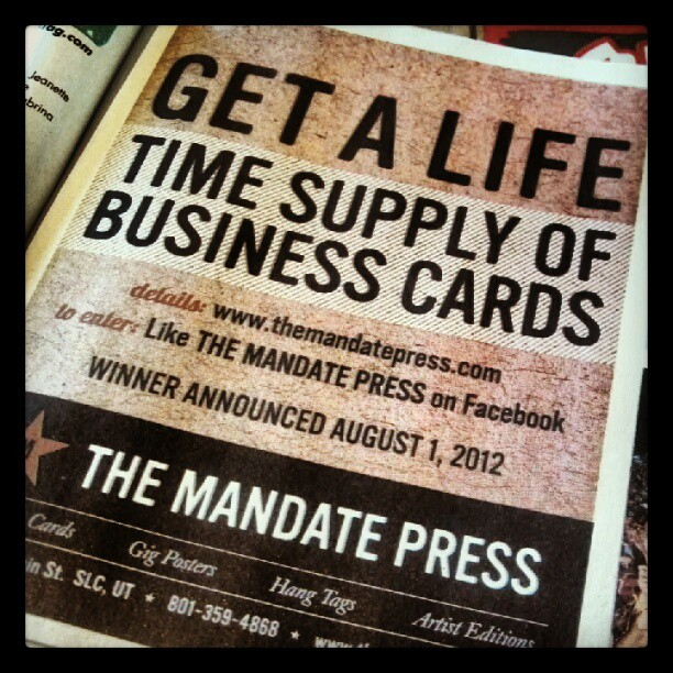 Read it and weep, me hearties! And then tell your friends… #themamdatepress #slugmag #letterpress #businesscards #bizcards #BCs #free #free99 #lifetimesupply (Taken with Instagram at Mandate Press)