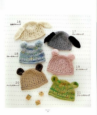 various crocheted hats with ears