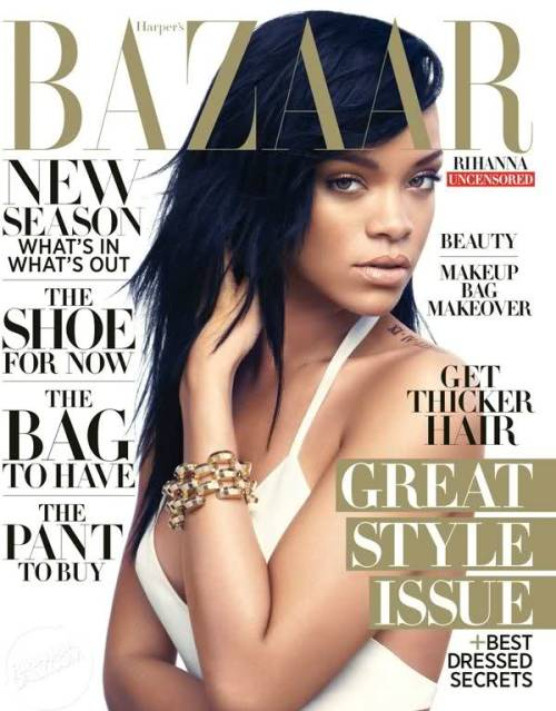 Harper's Bazaar: Rihanna  Rihanna is on cover of the August issue of Harper's Bazaar. She wears Balmain and Manolo Blahnik.