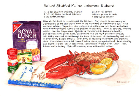 """Baked Stuffed Maine Lobsters Dubord - Recipe Painting by Brenda Erickson"