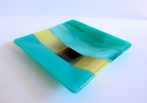 Glass Plate in Turquoise Blue Green and French Vanilla