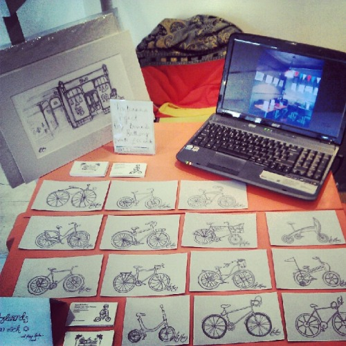 Project Pontcanna have opened a paper bike shop at the Milkwood Gallery! All postcards are £2 each and it would be marvellous to see you :)   Milkwood Gallery can be found at 41 Locaber Street, Roath, Cardiff.   …did I mention there's cake?!