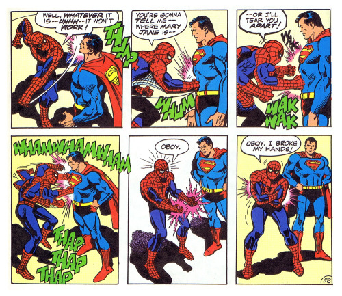 Superman is a dick. written by Gerry Conway :: illustrated by Ross Andru and Dick Giordano :: scanned from Superman vs. The Amazing Spiderman :: jointly published by Marvel and DC Comics :: 1976