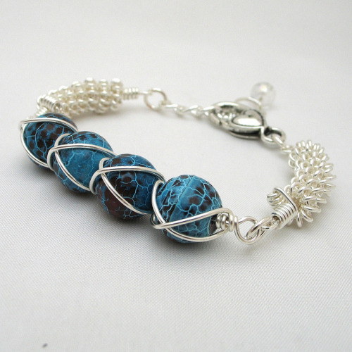 Turquoise Bracelet Wire Wrapped Fire Agate by Adien Crafts on Flickr.