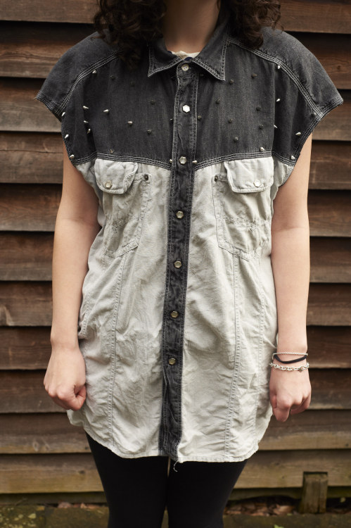 she-wore-valleykid:  Here's one of our shirts, a snip at £30. https://marketplace.asos.com/listing/shirts/vintage-denim-studded-cut-off-shirt/430029  Check out my new find…Valley Kid she-wore-valleykid.tumblr.com