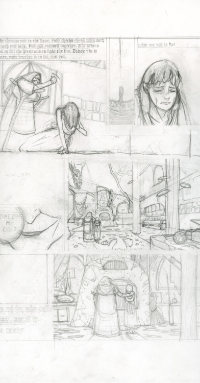 Hansel and Gretel, page 4, pencils, Pierce Hargan (2011)