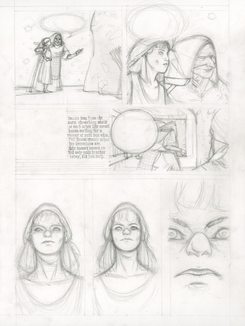 Hansel and Gretel, page 5, pencils, Pierce Hargan (2011)