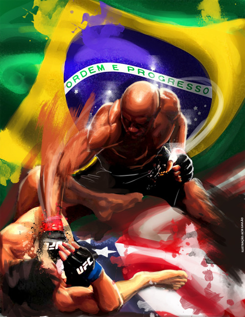 A painting of Last Weekend's UFC 148 main event by Acir Galvão Piragibe…amazing.
