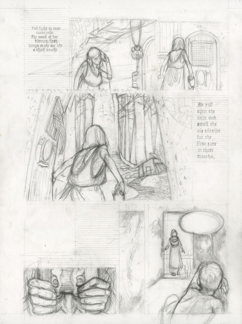 Hansel and Gretel, page 9, pencils, Pierce Hargan (2011)