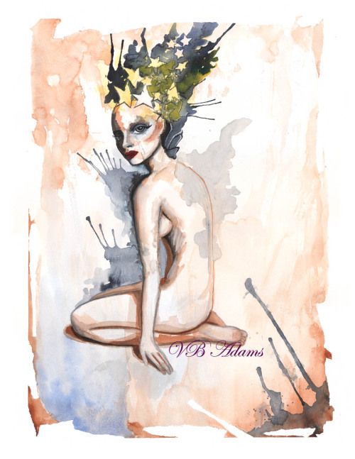 "eatsleepdraw:  ""Stella"" by VB Adams watercolor on paper Please join my tumblr for more updates http://vbadams.tumblr.com/"