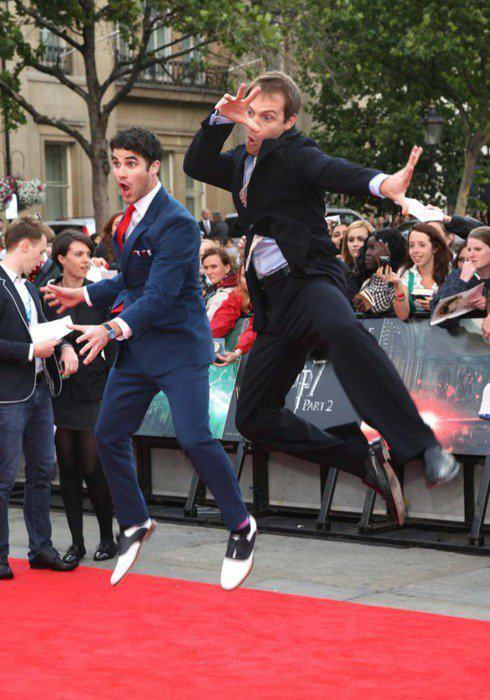 Darren Criss and Joe Walker, who played Harry Potter and Lord Voldemort, respectively, in the fan made musical A Very Potter Musical, at the premiere of Harry Potter and the Deathly Hallows Part 2.
