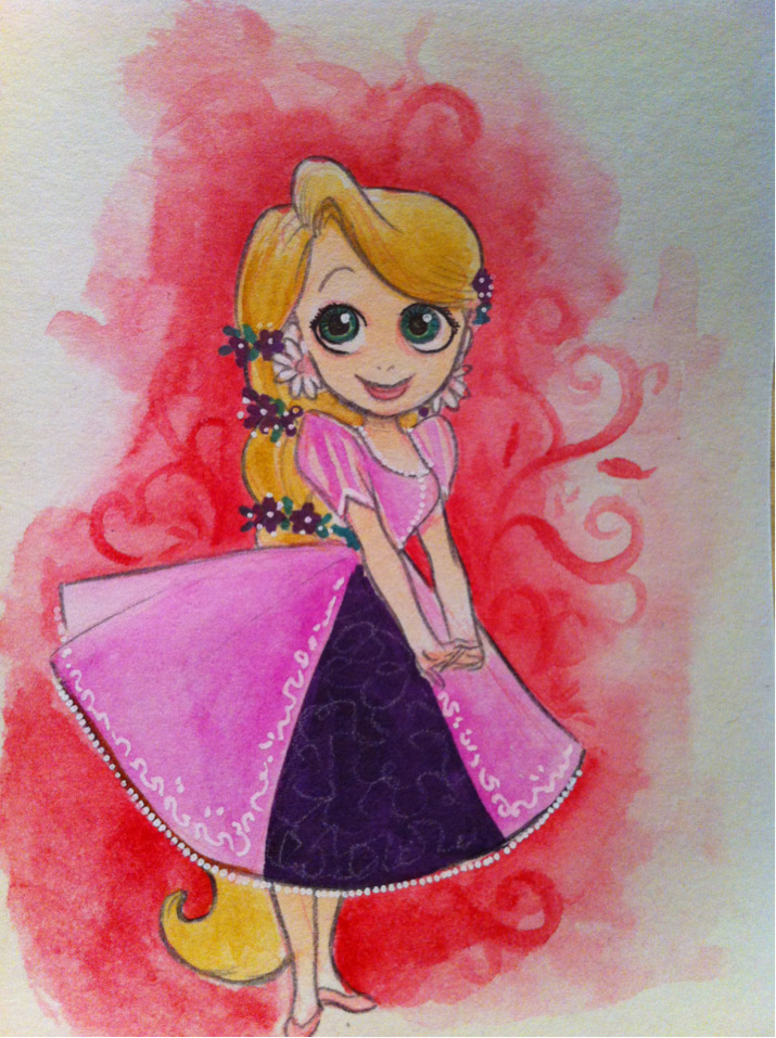 50's Prom Rapunzel. Cuz I'm in a new groove of drawing Whatever I Feel Like. Just work with me here..