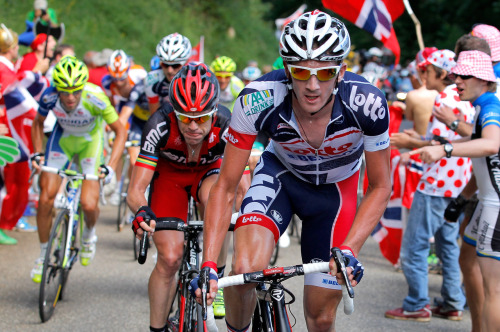 Jurgen Van Den Broeck (R) of Belgium riding for Lotto-Belisol attacks the group of the yellow jersey and is followed by Cadel Evans (C) of Australia riding for BMC Racing and Vincenzo Nibali (L) of Italy riding for Liquigas-Cannondale on the climb of the Col de la Croix during stage eight of the 2012 Tour de France from Belfort, France to Porrentruy, Switzerland on July 8, 2012 in Saint-Ursanne, Switzerland. (Photo by Doug Pensinger/Getty Images) (via Le Tour de France 2012 - Stage Eight - Yahoo! Sports Photos)