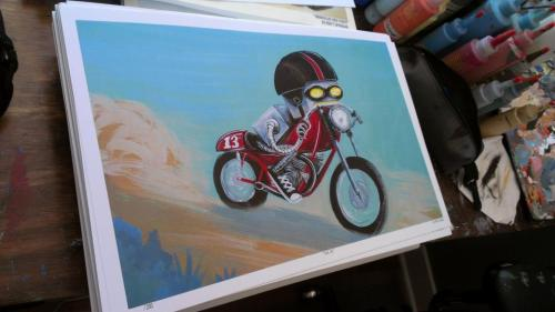 """Tuck.Go!"" Print has arrived! Getting ready to sign all 200 prints! Hand, don't fail me now! Limited edition: to 200, signed and numbered Printed on 100lb matte finish paper. Available Now!"