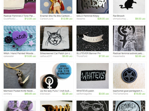 "I got featured in a really lovely Etsy treasury, which is delightfully named ""evil man-hating scum from the internet.""  ModernGirlBlitz and cathausDIY are also featured and, as I've said before, they're two of my favorite ladies/makers on the whole internet."