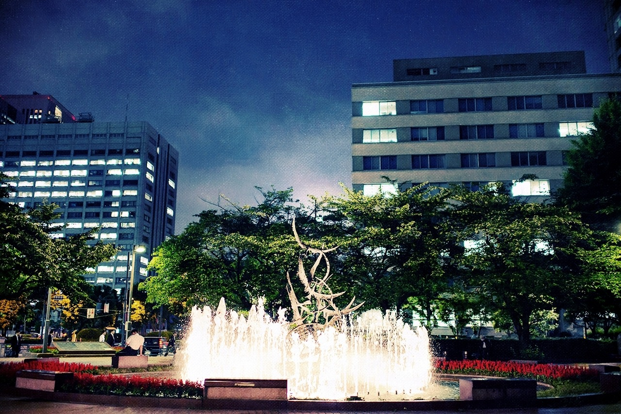 Random lighted fountain I walked by in Tokyo one night.