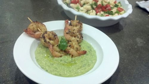 Chilled Avocado and Cucumber Soup with Grilled Shrimp
