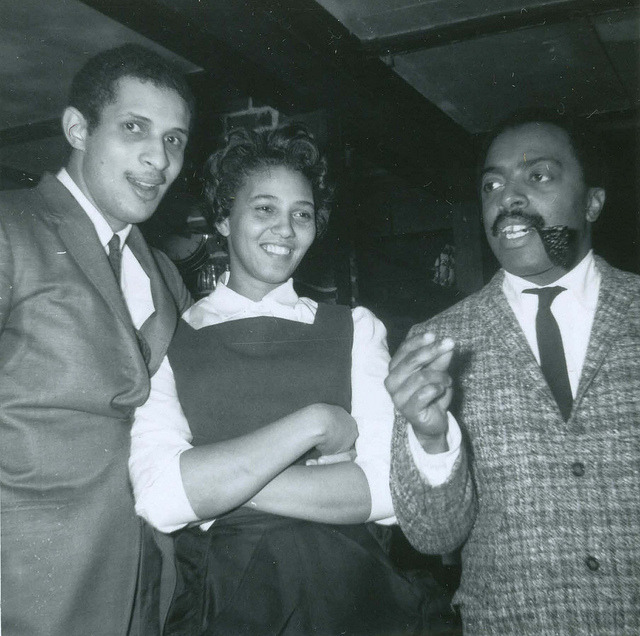 bainer:  [L to R] Larry Ridley, Patricia Greaves (waitstaff) and Roy Haynes at Lennie's on the Turnpike, Salem MA, February 1964 (from the Salem State Archives on Flickr)