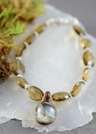 Cobblestone Glass with Fine Silver Encased:Smokey Quartz Beads, Sterling Silver Bracelet