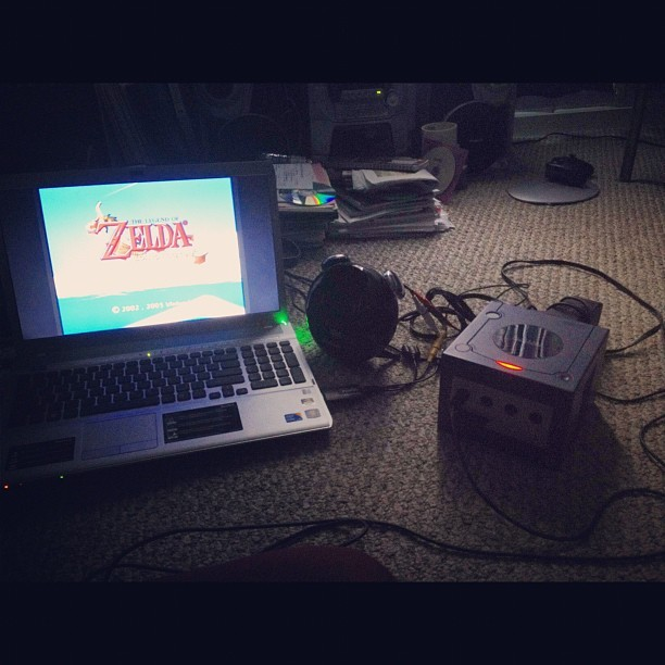 Yep, hooked up my ol' GameCube to my laptop. Let's go Zelda! (Taken with Instagram)