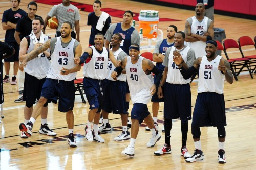 jstforkicks:  basketballfan4life:  Team USA  They're like a bunch of kids LOL
