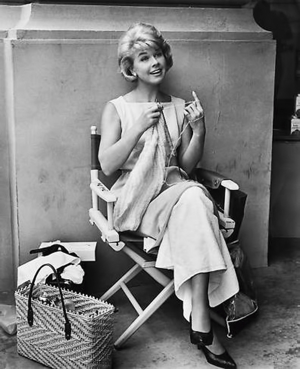 noblondes:  Doris Day knitting on the set of That Touch of Mink