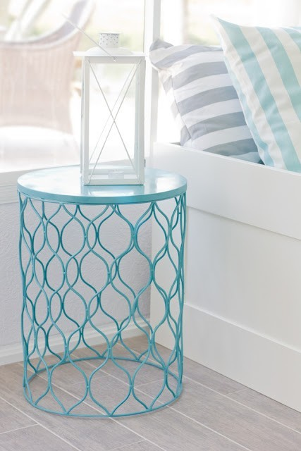 Weekend DIY?  Spray paint a nice metal trash can, flip over and instant occasional table! Love it. This paper bin is from Target apparently, but head over the Jenna Sue's blog to find out more.