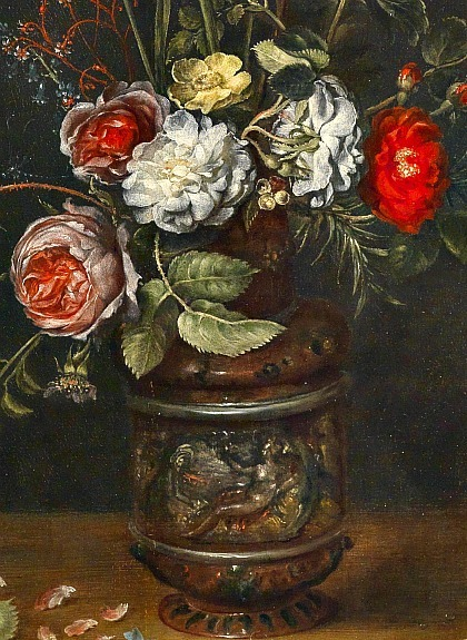 Alexander Adriaenssen Bouquet of Flowers in an Earthenware Vase, detail 17th century