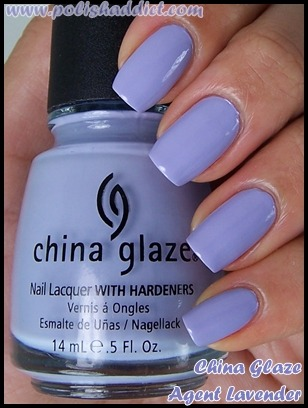 China Glaze - Agent Lavender Alright, I didn't think I'd be able to pull off this color but it really works with tan skin. It looks a lot better in the summer time, than let's say a few months ago. China Glaze has a beautiful selection of color and I may be the only one who thinks this but I seriously hate their formula. It's gloppy. All the polishes I've bought take about three coats to get its true color. I can't tell if it's the brush or if it's just the formula in general, but it leaves a streak if you're not careful. I find myself piling on more coats to cover the streakiness. Really?