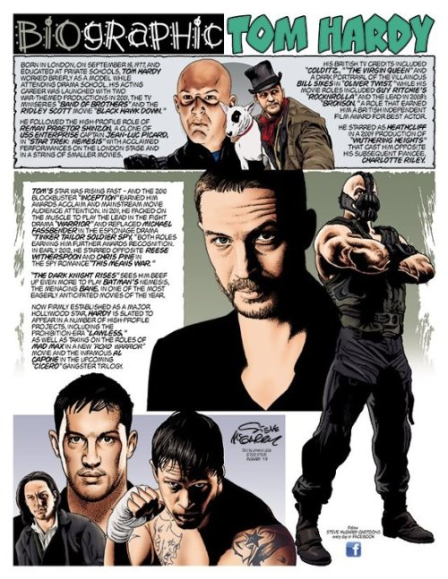 blueeyedlizzy:  Awesome Tom Hardy biocomic by Steve McGarry. Source: Tom Hardy Fan & Steve McGarry FB page.