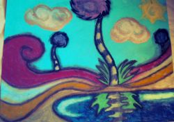 """Truffula Trees"" Oil pastel Drawing by SquidHeart Art, JayJay Based on the Lorax by Dr. Suess"