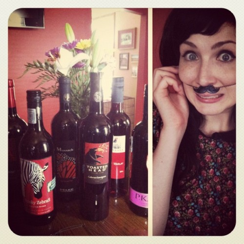 Gifts of wine and mustaches!!! :) Thank you friends! <3 (Taken with Instagram)