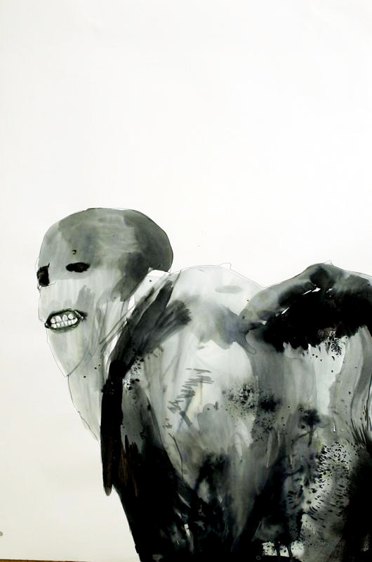 2headedsnake:  boosaville.com Boo Saville, Grimace, 2005, Clothes Dye on Paper with Collage