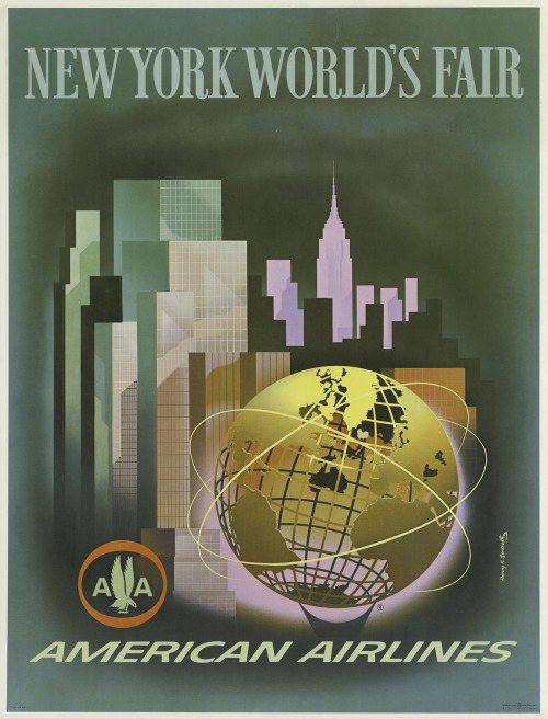 oldads:  American Airlines poster for the 1964-65 New York World's Fair, featuring the New York City skyline and the symbol of the fair - the Unisphere.