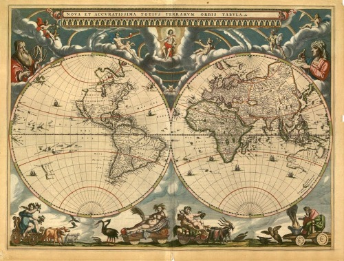 What people thought the world looked like in the 1600's - world map created in Holland (1664).