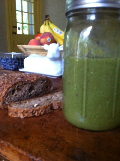 Lunch of Champions: swiss chard, banana, apple, flax seed smoothie  and whole wheat and nut bread from a local bakery