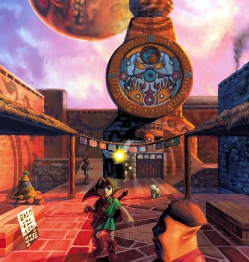 Majora's Mask fav concept art. LOVE THE FACT: you can see the annoying dog who always attacks u when your deku link