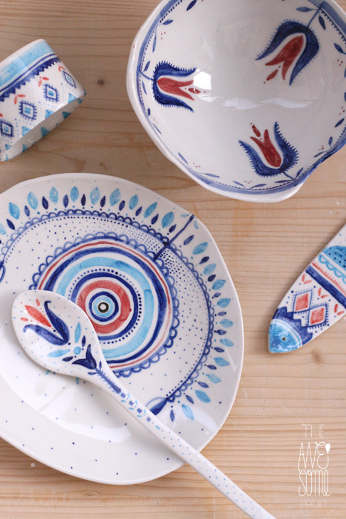 unique porcelain bowl | plate | spoon | cutlery rest | napkin ring underglaze decoration + dishwasher safe  RESERVED