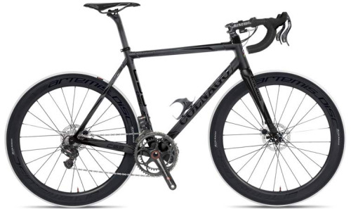 Colnago goes hydraulic disc for its road and cyclocross range in 2013. Note the Colnago-only hydraulic levers (which look terrible, but way better than the TRP alternative). Also note the tiny 140mm rotors.  Is this the future? Given Colnago's legacy to date: yes.  Via Bike Rumour.