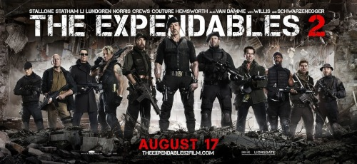 "New Testosterone-Loaded ""Expendables 2"" Poster With advertising for the movie in full swing, its marketing team is capitalizing on its stellar and aging cast of action stars. In this poster alone, the film's male-dominated cast highlights this poster as they stand side by side with weapons in hand. The only notable cast member to be missing is the lone female member of Stallone's team played by Chinese actress Nan Yu.  The film comes out August 17th and stars Sylvester Stallone, Bruce Willis, Arnold Schwarzenegger, Chuck Norris, Jean-Claude Van Damme, Jet Li, Jason Statham, Liam Hemsworth, Dolph Lundgren, Terry Crews and Randy Couture.  [Collider]"
