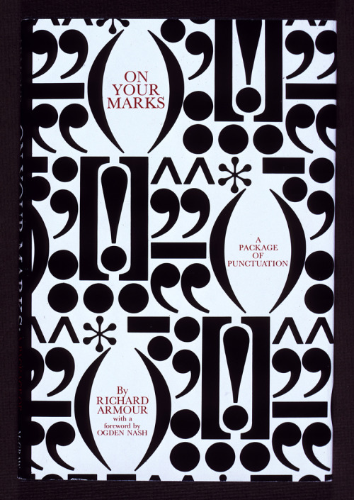"""On Your Marks"" book jacket designed by Herb Lubalin, 1969. Source: Herb Lubalin Study Center's Flickr photo stream"