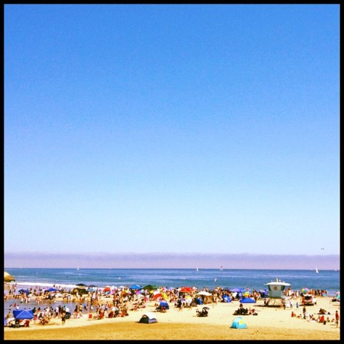 The beach in Santa Cruz, seen from the Boardwalk. #california #coast #beach #santacruz (Taken with Instagram)
