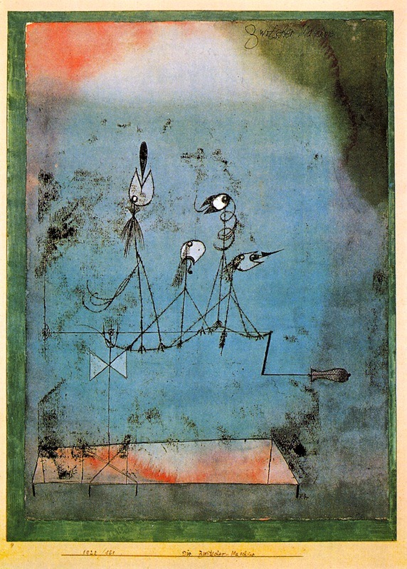 "The Twittering by Paul Klee, 1922. Oil transfer and watercolour on paper, framed in watercolour and ink on cardboard, 41.3 x 30.5 cm. The Museum of Modern Art, New York.  Seems about right.1    Hey, Paul; drop the ""the"". Just: Twitter. It's cleaner. ↩"